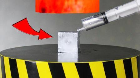 1000℃液压机压镓金属? 液压机再抬起时老外看的脸都白了!