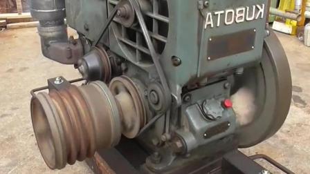 13马力的日本久保田发动机, 启动听听声音怎么样