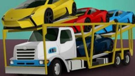 大卡车运小汽车2 闪电麦昆趣味小汽车 超长卡车工作视频 汽车总动员拖车