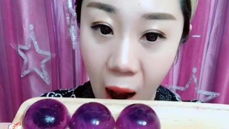 网红吃播紫色冰块, 声控们喜欢这个声音吗?