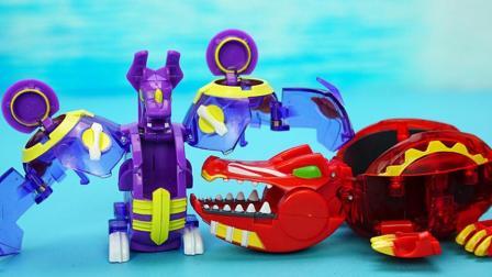玩具大联萌 爆兽猎人玩具分享 潜影蝙蝠VS噬日巨鳄