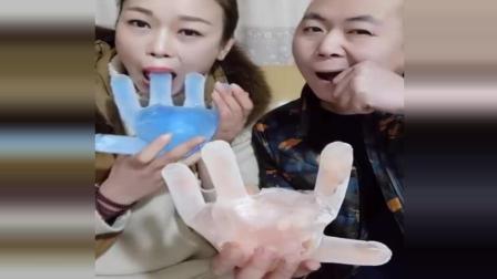 吃冰达人冻手掌冰, 一次性手套就可以做模具, 加点奶更好吃