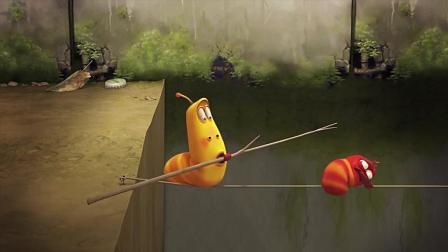爆笑虫子: 为了一个小面包邻居们都疯了, 在单绳子上还敢这样闹腾