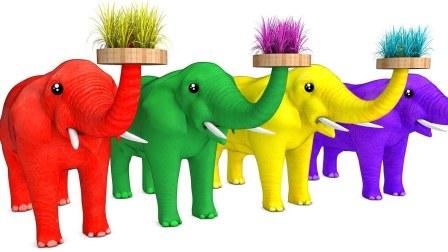 儿童学习英语 拼写草大象动物 卡通童谣歌曲 泡泡糖冰淇淋杯 动画视频五只小猴子