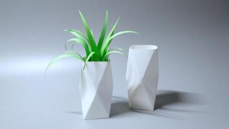 几分钟用纸做个仿陶瓷风的几何花瓶, 好看又实用, 用来插花好漂亮