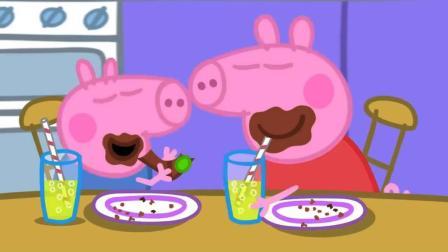 小麦英语课堂 小猪佩奇 佩奇和弟弟吃蛋糕喝果汁 简笔画涂色书