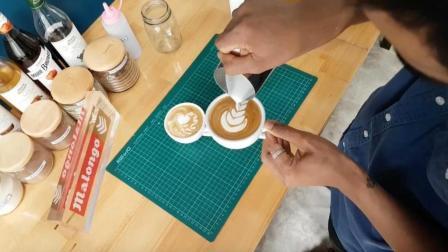 桃心和郁金香图案咖啡拉花教学, 拉花其实不难, 你先练个1000杯