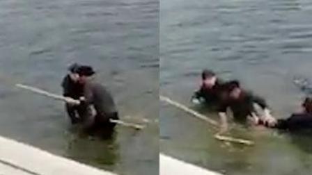 俩小孩不慎掉落河中 好心人跳冰水相救