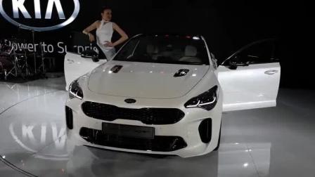实拍白色起亚斯丁格GT车展, 这颜值一眼难忘! 好喜欢的大白!