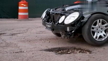 过坑不刹车轮胎会发生什么? 这辆奔驰告诉你有多危险!