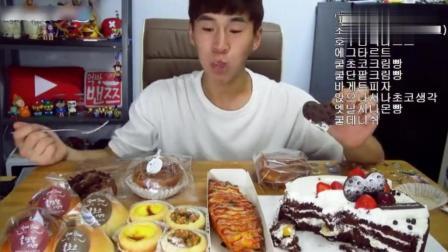 韩国大胃王奔驰小哥狂吃面包和蛋糕, 再吃点蛋挞和牛奶才满足