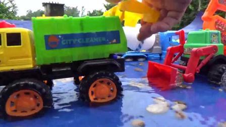 聪明的工程车队在水中采集沙石, 棒棒的挖掘机, 推土机