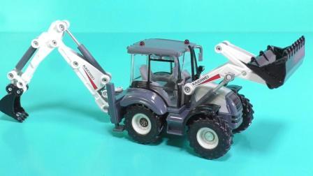 工程车玩具视频: 挖掘机推土机双向铲车拖拉机工程汽车工作表演