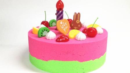 月采超Q食玩玩具 80 太空沙制作有趣的水果蛋糕魔力沙玩具
