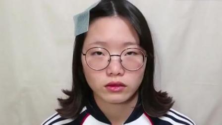女大学生长相一般, 化完妆后确实漂亮