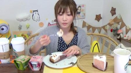 日本大胃王木下吃播粉红草莓冰淇淋和蛋糕, 还喝各种饮料, 好可爱好胃口!