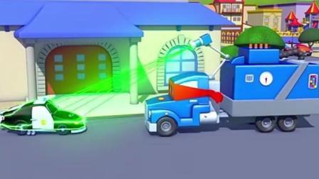 超级卡车: 卡尔变成 变色龙隐身抓小偷并克隆出一辆警车帮助马特追捕超速汽车