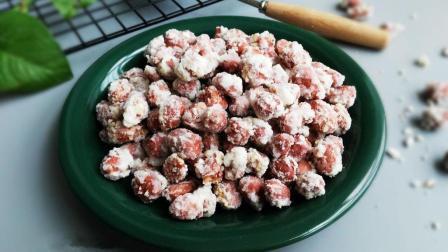 糖霜花生, 花生米包裹着酥酥的糖皮, 入口香、甜、酥、脆。