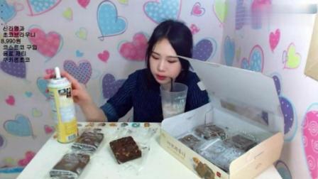 韩国大胃王弗朗西斯卡吃布朗尼蛋糕, 这妹子的生活忒美啊