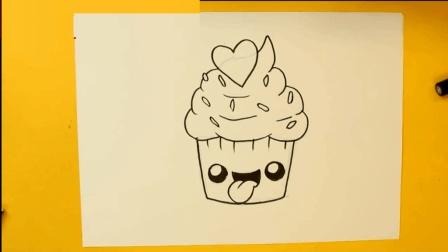 育儿早教画画, 手把手教孩子简笔画笑脸杯子蛋糕