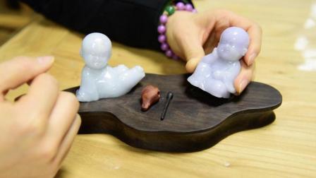 佛系翡翠玉雕——萌萌的小沙弥憨态可掬