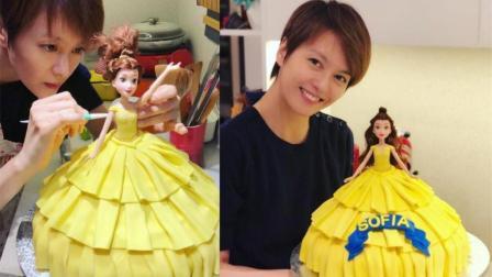 母爱尽显! 梁咏琪亲手制作公主蛋糕贺女儿3岁生日