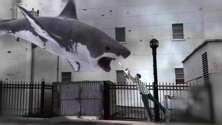 5分钟看搞笑灾难片《鲨卷风》, 从天而降的鲨鱼这下厉害了
