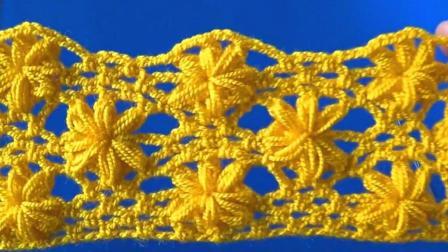"""手工针织DIY, 钩织""""泡芙花""""图案的方法, 适用于披肩和围巾"""