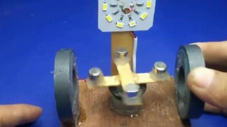 牛人用大磁铁打造发电装置, 启动后还能点亮LED灯, 什么原理?