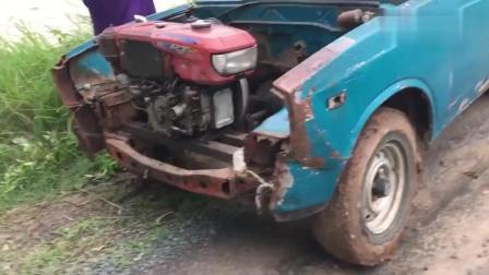 报废皮卡车改装后, 装上了拖拉机发动机, 结果会怎样_
