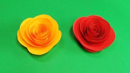 手工折纸简易玫瑰花, 1分钟做好, 可用来装饰灯笼等物品