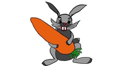 看似复杂的简笔画! 分解法绘画教程视频, 教孩子快速学会画大灰兔与胡萝卜, 亲子早教绘画