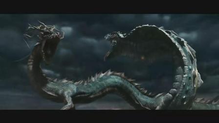 龙之战争: 大蛇去抢龙珠, 却被神龙吐了一团火, 烧成了灰
