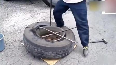 日本修车工人手动更换卡车轮胎, 有没有比国内先进?