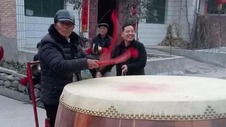 2018年正月陕西周至县九峰镇薛家堡村锣鼓队(1)