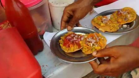 印度口感丰富的小吃: 贝尔普里! 主料是膨化大米和鹰嘴豆