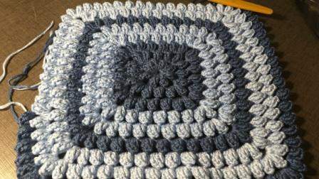方形爆米花坐垫的钩法