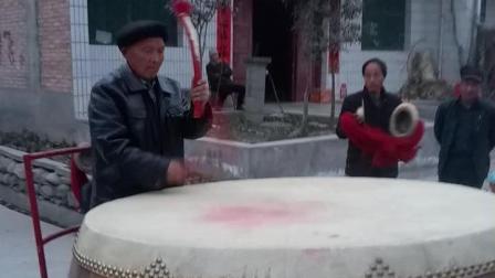 2018年正月陕西周至县九峰镇薛家堡村锣鼓队(3)