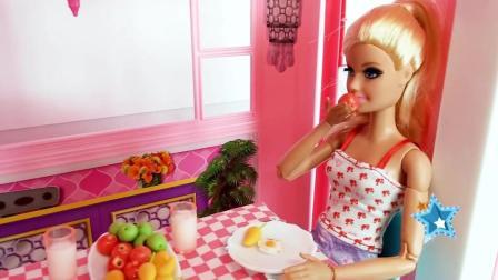 芭比娃娃营养早餐, 美丽小公主忍不住大口吃起来