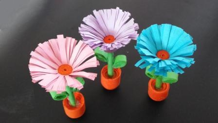 立体小雏菊花折纸很少有人会折, 做法很简单, 手工折纸视频教程