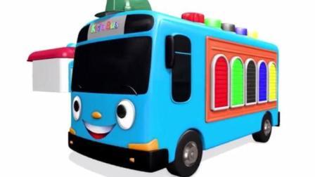 儿童汽车卡通动漫: 大型闪电麦昆按下彩色按钮出现许多各种各样的迷你小汽车