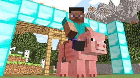 大海解说 我的世界Minecraft 钻石囚笼骑猪大奔袭