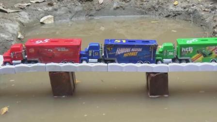 汽车大货车过河的故事, 公交车巴士试玩, 婴幼儿宝宝玩具游戏视频
