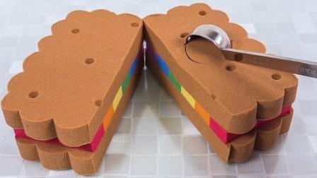 颜色太空沙 动力沙 彩虹饼干 冰淇淋做法 手工DIY 天使沙双床蛋糕 太空沙