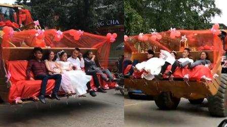 挖机当婚车上路引围观 路人: 浪漫又温馨