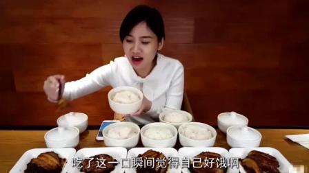 密子君直播吃10碗梅菜扣肉饭, 一分钟吃完一碗令人窒息的操作!