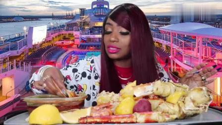 黑人阿姨吃帝王蟹庆祝新年, 最大的蟹腿最香的酱
