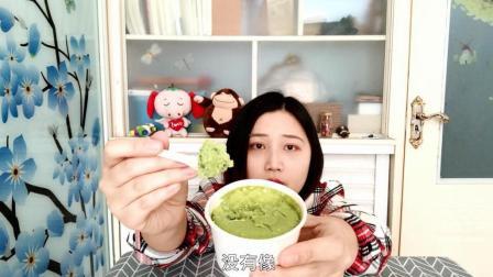 试吃半熟芝士宇治抹茶蛋糕, 抹茶味最香浓之一, 这个绿颜色太喜人了