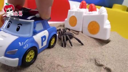 警车珀利走迷宫 户外活动遇到蛋糕蜘蛛 汽车玩具故事
