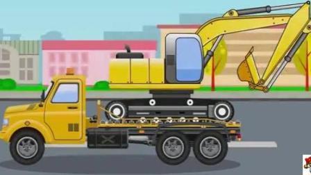 儿童挖掘机动漫 挖掘机修路阻塞交通 拖拉机紧急帮忙 挖掘机滚到可乐瓶轧断履带